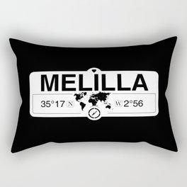 Melilla with World Map GPS Coordinates and Compass Rectangular Pillow