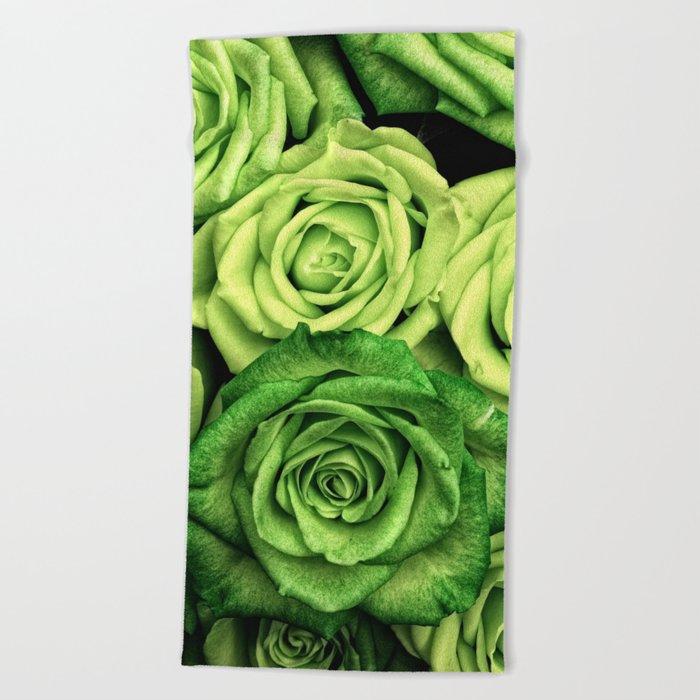 Green Roses Beach Towel
