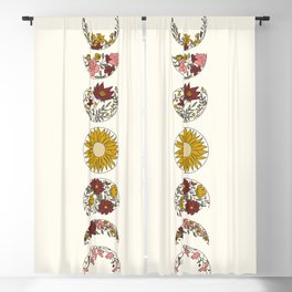 Floral Phases of the Moon Blackout Curtain
