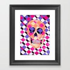 skulladelic pink plaid Framed Art Print