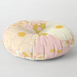 Pink Pastel Vintage Floral Pattern Floor Pillow