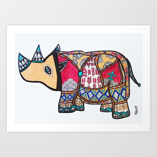 Fleur de Rhino Art Print