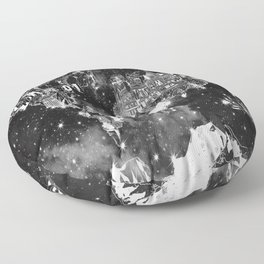 world map galaxy black and white Floor Pillow