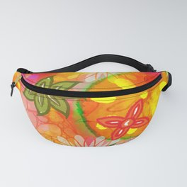 Tropical Coloured 60's Hippies Flowers Pattern Fanny Pack