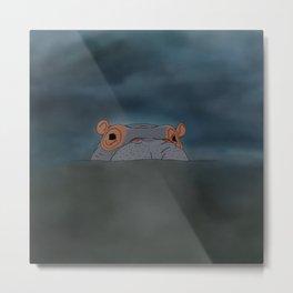 Hippo hiding in murky water  Metal Print