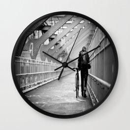 One Way Life , Traveler , Biker , NYC , Williamsburg Bridge  Wall Clock