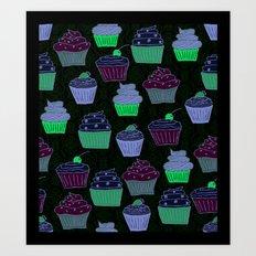 Cupcakes Curly Art Print