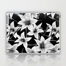 White lilies on a black background . Laptop & iPad Skin