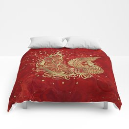Golden Phoenix Bird on red Comforters