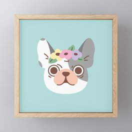 French Bulldog and Flowers Framed Mini Art Print