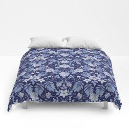 Light Blue, Cobalt Blue, & White Floral Pattern Comforters