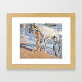 The Horse's Bath by Joaquin Sorolla Framed Art Print