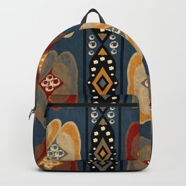 African Tribal Ethnic Print Stripe Diamond Dot Pattern Backpack