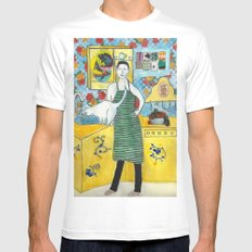 Man with cat in the kitchen White Mens Fitted Tee MEDIUM