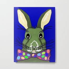 Easter Bunny Blue Metal Print