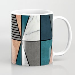 Copper, Marble and Concrete Triangles with Blue Coffee Mug