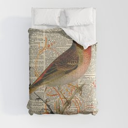 Bird on Branch on Dictionary Page Comforters
