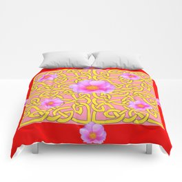 RED  PINK ROSES YELLOW PATTERN Comforters
