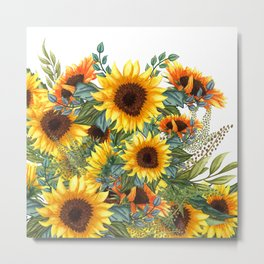 Sunflower Art, Yellow and Green, Floral Prints Metal Print