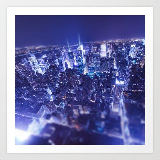 Manhattan downtown aerial view by night - new york city Art Print