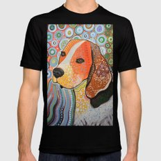 Rocky ... Abstract dog art, Beagle LARGE Mens Fitted Tee Black