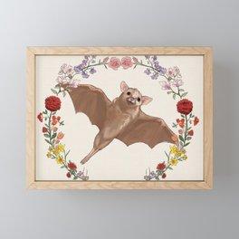 Fruitbat in Floral Wreath Framed Mini Art Print