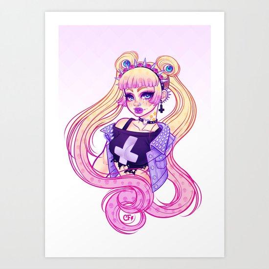 Pastel Goth Usagi (Glasses OFF) Art Print
