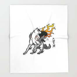 Amaterasu Ink Throw Blanket