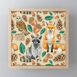 Woodland Creatures Illustrated Watercolor Pattern Framed Mini Art Print