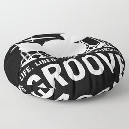Life, Liberty, and the pursuit of Groove, drummer's drum set silhouette illustration Floor Pillow