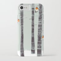 birds iPhone & iPod Cases featuring Robin Trees by Sandra Dieckmann