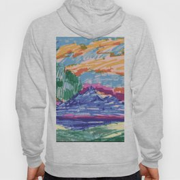 Felt tip pen kids drawing Mountain View With Tree Hoody
