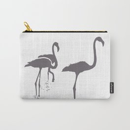 Three Flamingos Grey Silhouette Isolated Carry-All Pouch