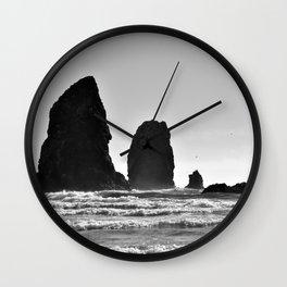 Cannon Beach Black & White Wall Clock
