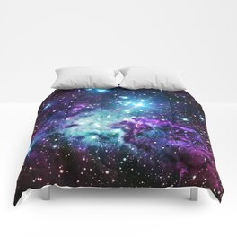 Fox Fur Nebula : Purple Teal Galaxy Comforters