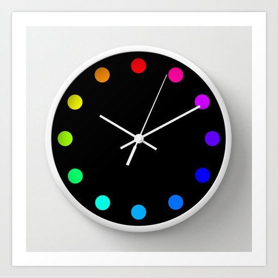 clock dots - color option black Art Print