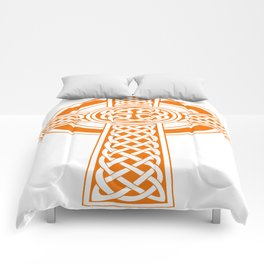 St Patrick's Day Celtic Cross Orange and White Comforters