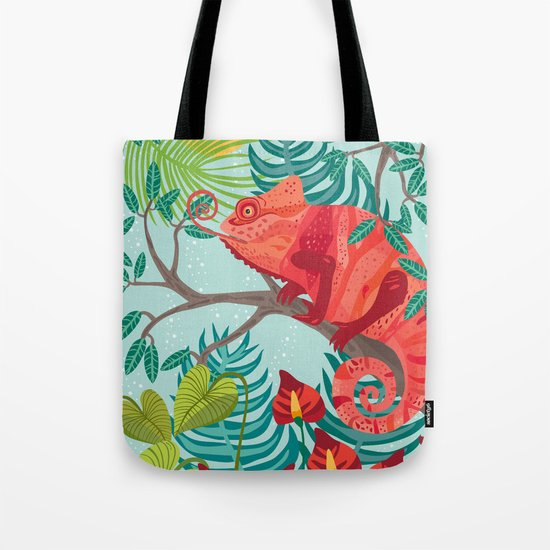 The Red Chameleon  Tote Bag