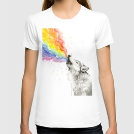 Wolf Howling Rainbow Watercolor T-shirt