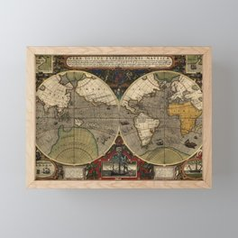 1595 Vera Totius Expeditionis Nauticae - Map of Sir Francis Drake's Circumnavigation of the Globe Framed Mini Art Print