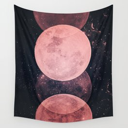 Pink Moon Phases Wall Tapestry