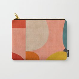 geometry shape mid century organic blush curry teal Carry-All Pouch