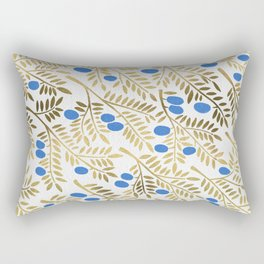 Olive Branches – Gold & Blue Rectangular Pillow
