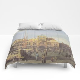 Piazza San Marco Clock Tower - Canaletto (Distressed Plaster Look) Comforters