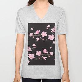 Cherry Blossom - Black Unisex V-Neck
