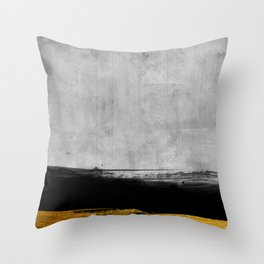 Black and Gold grunge stripes on modern grey concrete abstract backround I - Stripe - Striped Throw Pillow