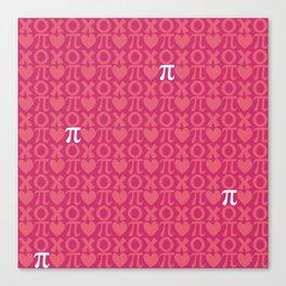 Hugs, Kisses, Love, and Pi - Pink  Canvas Print