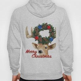 Merry Christmas Deer with Christmas wreath Hoody