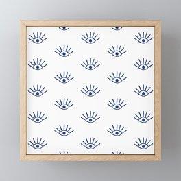 Navy Evil Eye Pattern Framed Mini Art Print