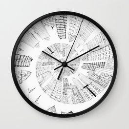 black and white city spiral digital painting Wall Clock